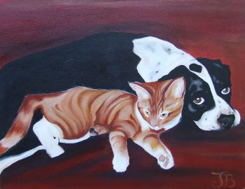 Painting of a dog and cat.